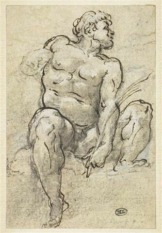 Homme nu, assis sur des nuages, les jambes écartées...