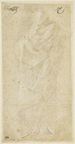 Figure drapée, de face, enveloppée d'un large manteau qui la dissimule