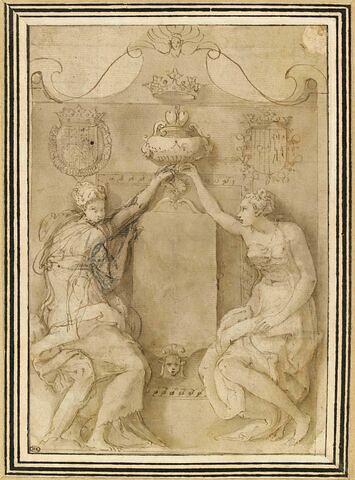 Monument mural aux coeurs de François de Lorraine et d'Anne d'Este