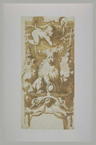 Etude de décoration, avec un lion couronné, parmi des guirlandes...
