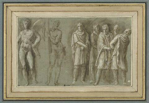 L'Amour, Le Christ debout tenant la croix, et des prisonniers barbares