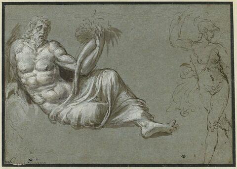Vieillard à demi nu, étendu et tenant une corne d'abondance ; figure féminine nue, casquée, de trois quart, avançant vers la gauche