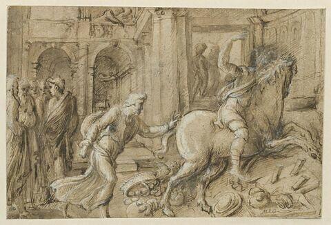 Vieillard poursuivant un cavalier sur un cheval emballé renversant des étals
