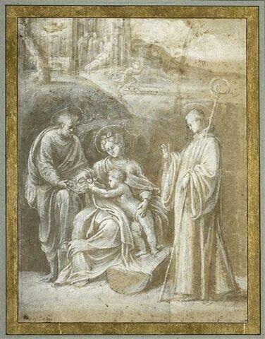 La Sainte Famille avec un saint abbé dans un paysage