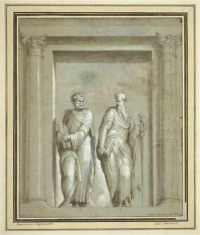 Saint Pierre et saint Paul debout sous un portique d'ordre corinthien