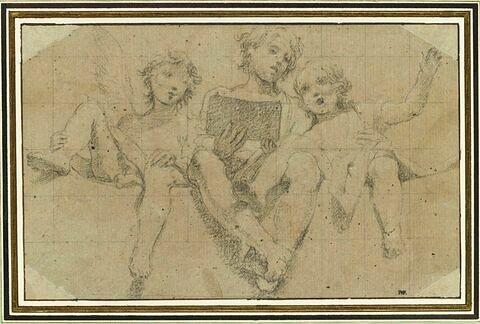 Trois anges assis sur un rebord, chantant