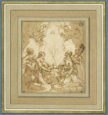 Quatre saints et six anges adorant le Nom de Jésus