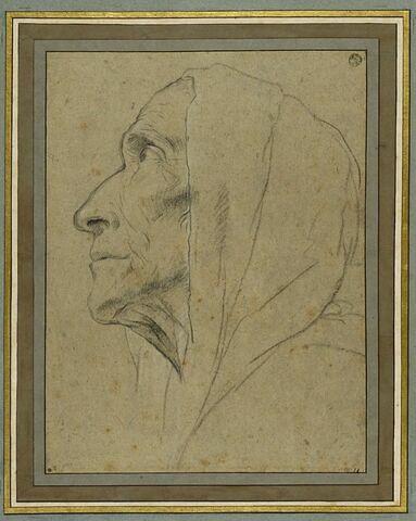 Tête de vieille femme, vue de profil, enveloppée d'une draperie