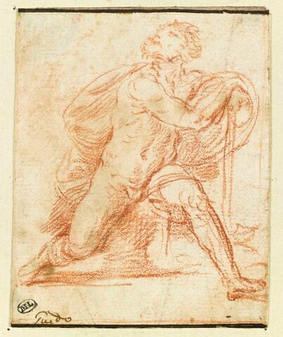 Homme nu, assis, appuyé sur un bâton, une jambe en avant, les yeux levés