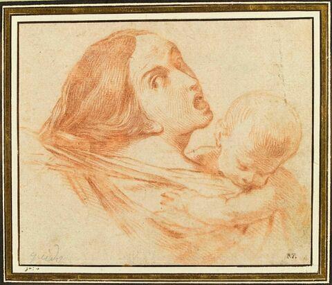 Buste d'une femme tenant son enfant, se retournant avec terreur