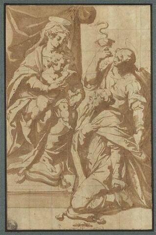 Saint Jean l'Evangéliste présentant un homme à la Vierge et l'Enfant