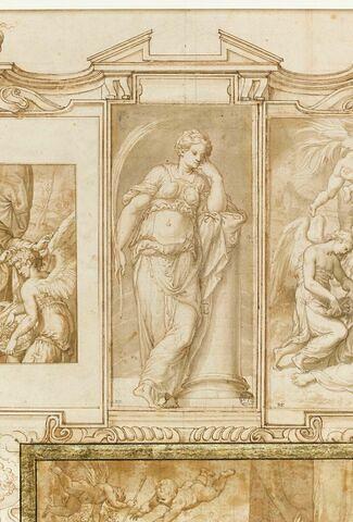 Sainte Bibiane, debout de face, accoudée à une colonne brisée