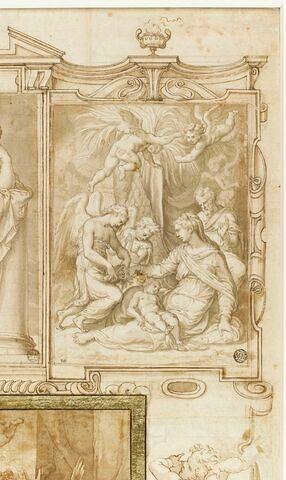 La Sainte Famille servie par les anges pendant la Fuite en Egypte