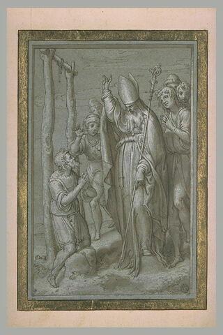 Saint Nuffrau, évêque, ressuscitant un pendu