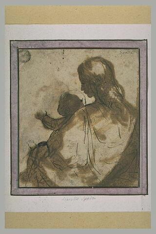 La Vierge assise, avec l'Enfant Jésus, de dos