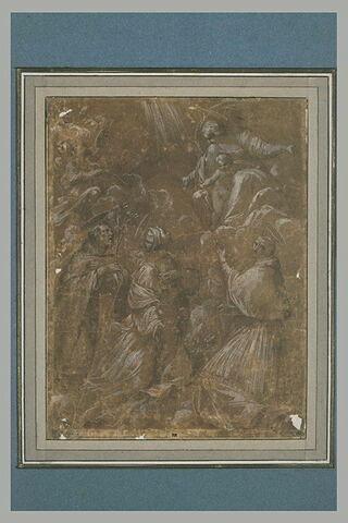 Vierge à l'Enfant apparaissant à deux saints et une sainte, sur des nuages