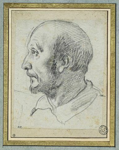 Tête d'homme chauve et moustachu, de profil vers la gauche