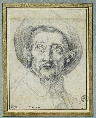 Tête d'homme, vue de face, avec chapeau à larges bords