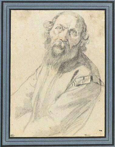 Demi-figure d'homme portant barbe et moustache, de trois quarts
