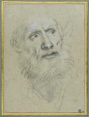Tête de vieillard, de face, coiffé d'un turban