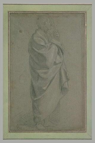 Etude de draperie d'un homme debout, de profil, appuyé sur un bâton