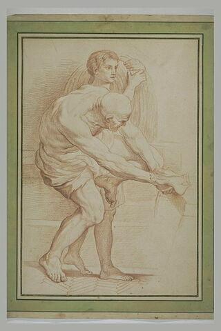 Un bourreau liant des pieds et une figure portant une charge