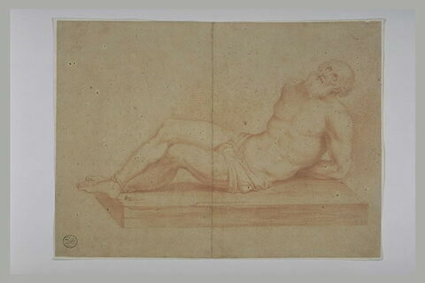 Saint André, étendu sur une table, les pieds et mains liés