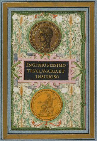 Feuillet avec monnaie à l'effigie de Tibère