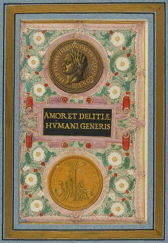 Feuillet avec monnaie à l'effigie de Titus