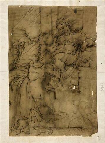 Sainte Famille, avec sainte Catherine, de dos, adorant l'Enfant