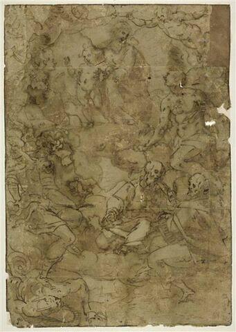 Sur des nuages, la Vierge à l'Enfant entourée de saints