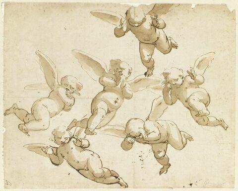 Six angelots volant