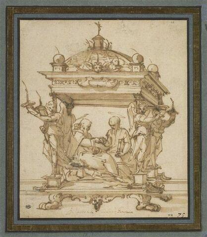 Projet de châsse avec saint Antoine abbé et saint Paul ermite