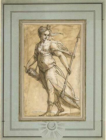 Diane debout tenant une flèche et un carquois
