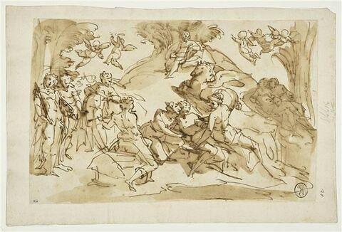 Apollon et les Muses sur le Mont Hélicon d'où Pégase fait jaillir une source