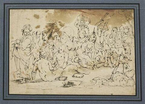 Troupe d'hommes et de femmes portant des fardeaux, ou étendus à terre