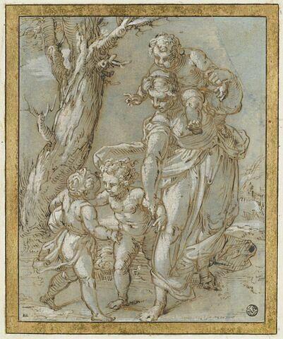 Femme debout, un enfant sur ses épaules et deux autres : la Charité