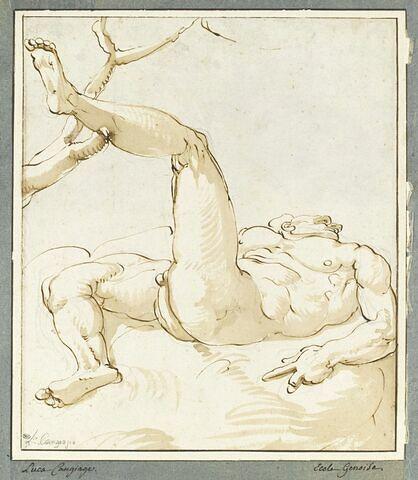 Homme nu, allongé sur le dos, la jambe gauche appuyée sur une branche