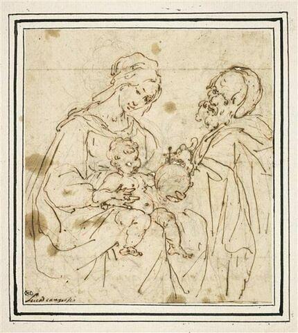 Sainte Famille, avec la Vierge tendant à l'Enfant le Globe du monde
