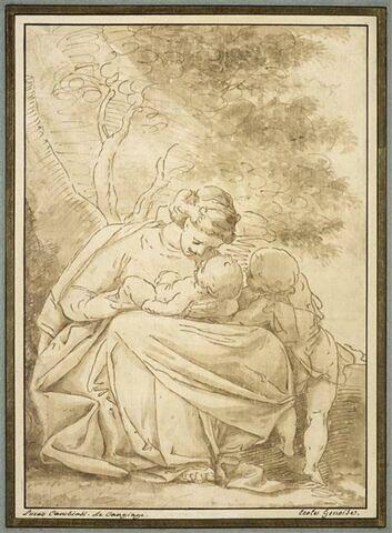 La Vierge assise avec l'Enfant couché sur ses genoux, et le petit saint Jean Baptise
