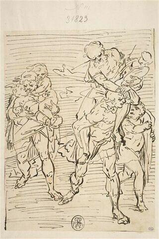 Enée fuyant Troie avec sa famille, portant Anchise sur ses épaules