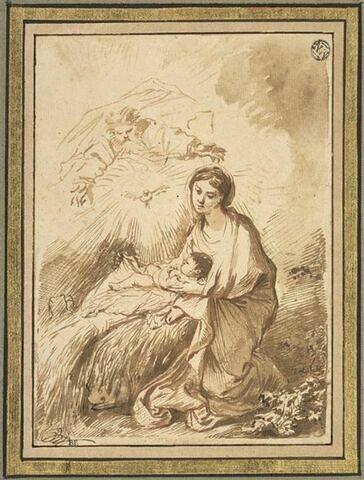 Le Père Eternel et le Saint Esprit contemplant la Vierge à l'Enfant