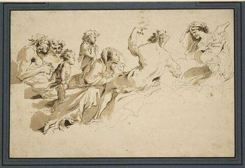 Groupe de figures regardant une femme tenant une inscription