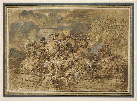 Scène de transhumance : quatre enfants conduisant un troupeau et un cheval