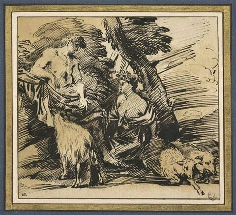 Un homme drapé assis entouré d'une femme agenouillée et de trois moutons