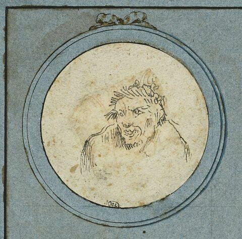 Caricature : buste d'homme, le regard fixé sur la gauche