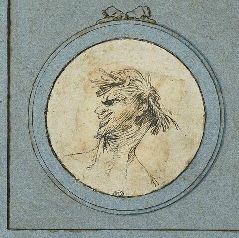 Caricature : buste d'homme, couronné de feuillage, tourné vers la gauche