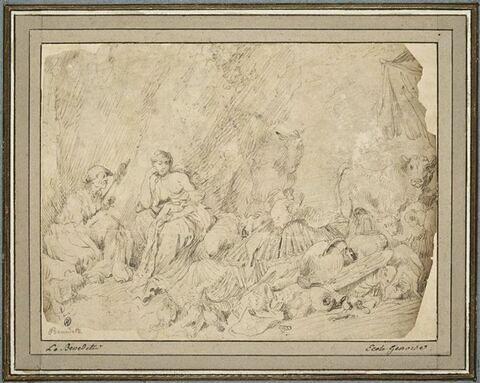 Femme raconte l'histoire de Psyché à une fille, devant Lucius changé en âne