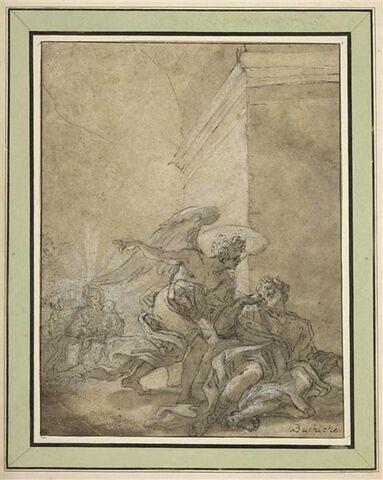 L'ange apparaît à saint Joseph pour l'avertir de fuir en Egypte