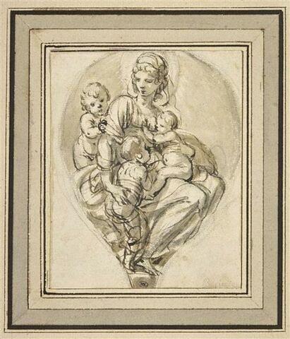 Femme entourée de trois enfants : la Charité